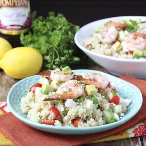 Mediterranean Grilled Shrimp Quinoa Salad - with fresh veggies and olive oil red wine vinaigrette!