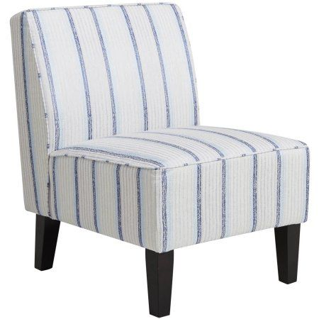 Blue Striped Armless Slipper Chair Image 2 Of 3 Stripe Accent Chair Armless Accent Chair Accent Chairs