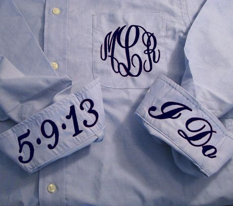Blue Bridal Party Shirt Monogrammed Button by PrettyPersonalGifts - To wear while getting ready and on the plane to honeymoon.