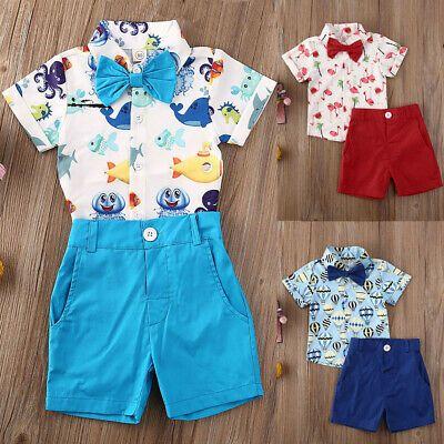 USA Toddler Kid Baby Boy Gentleman Clothes Shirt Tops Shorts Pants Formal Outfit