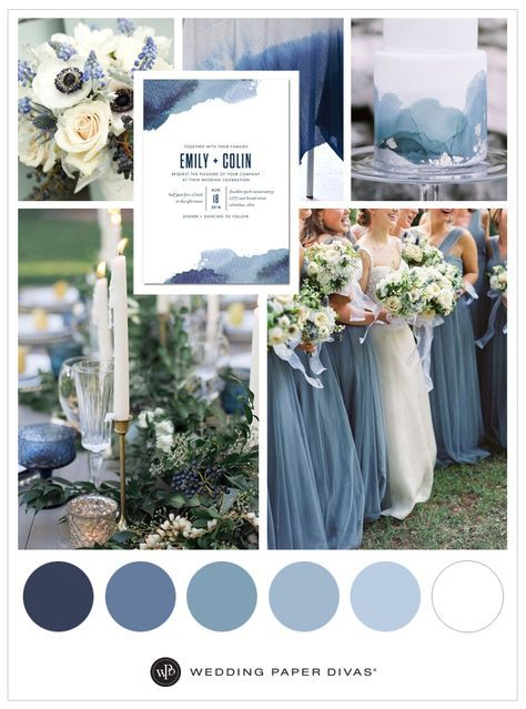 Blue Watercolor Wedding Theme is part of Wedding A splash of dusty blues and a dab of navy blue remind us of a beautiful watercolor Paint your love story with a blue, watercolor wedding theme and d -
