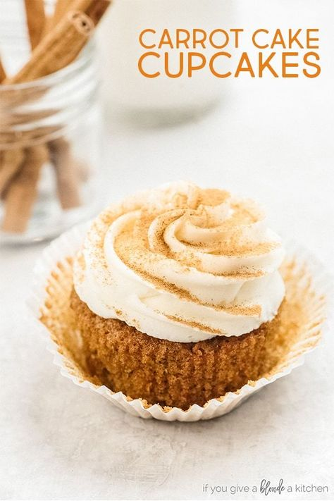 Carrot cake cupcakes are moist cakes with rich cream cheese frosting. This recipe uses cinnamon and nutmeg for flavor as well as shredded carrots and brown sugar! This is the perfect Easter dessert, but also fitting for a birthday or other celebration. #carrotcake #cupcakes #easter #dessert | www.ifyougiveablondeakitchen.com via @haleydwilliams