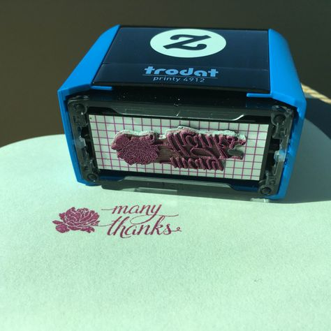 Shop Pink Peony Thank You Self-Inking Stamp created by RedwoodAndVine.