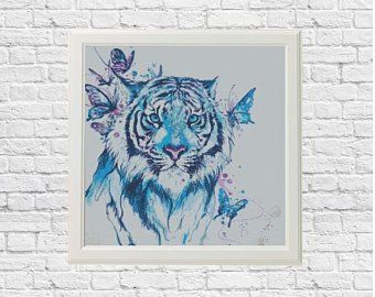 moderne Broderie Aquarelle Tiger Cross stitch pattern Animal cross stitch