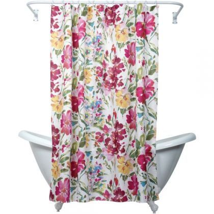 Zenna Home India Ink Watercolor Floral Fabric Shower Curtain