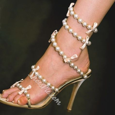 Shoespie Pearls Beading Ribbons Sandals