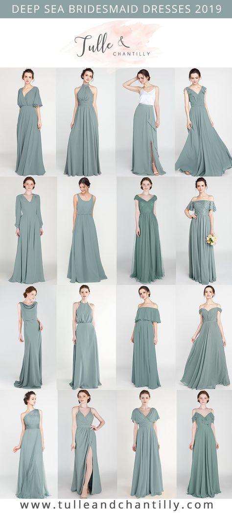 Deep Sea wedding color ideas with bridesmaid dresses 2019  #wedding #weddinginspiration #bridesmaids #bridesmaiddress #bridalparty #maidofhonor #weddingideas #weddingcolors #tulleandchantilly