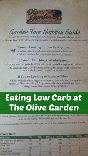 Low Carb Olive Garden Menu No Carb Diets Low Carbohydrate Diet