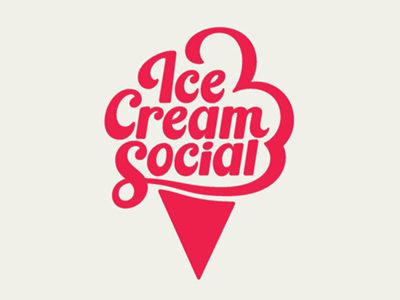 Ice Cream Social logo. I think it would of been even better if he put the diamond pattern in the cone to break up that solid triangle.