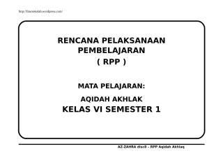 Rpp Akidah Akhlak Kelas 6