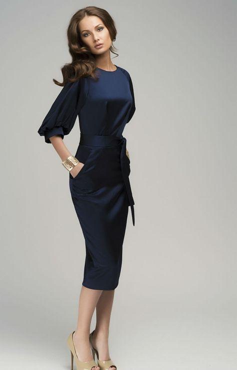 Schicke dunkelblaue Maxi-Kleid Abend Retro-Stil von ...