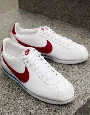 Nike Cortez leather trainers in white with red swoosh