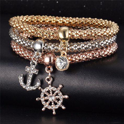 3PCS Gold Silver Love Crown Crystal Cuff Bangle Charm Elastic Bracelet Gift
