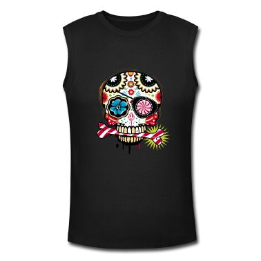 0d3c83f67b483 ... skull a decorated candy for the festival Dias de Muertos inspired by  the sugar skulls tattoos The skull with an eyepatch and a candy cane T- Shirts.
