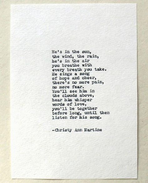 In The Sun Poem Typed With Antique Typewriter ~~~~~~~~ Hi, I'm Christy, a writer, and poet. I've written all of the poems you see in my shop. Im very sorry for your loss. I hope this poem will provide comfort to you or your loved one at this difficult time. I will type out this poem