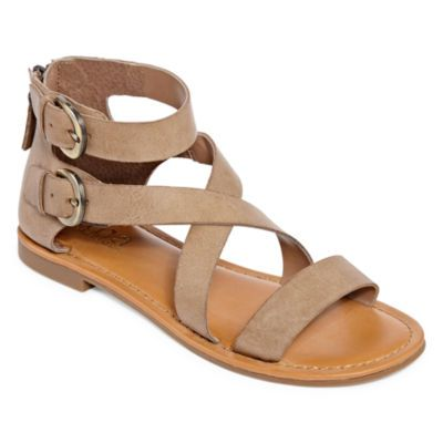Ankle strap sandals flat