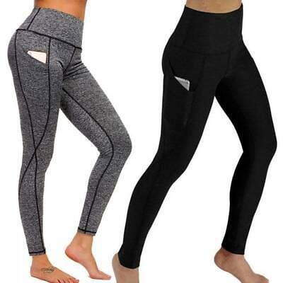 Womens High Waist Yoga Pants Pocket Gym Leggings Fitness Sports Trousers Stretch