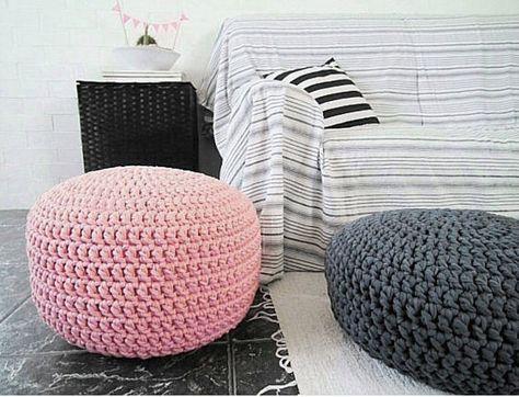 Crochet Pouf Ottoman Light Pink Baby Girl Nursery Footstool Knit Round Pouffe Pastel Chair Floor Seating Newborn