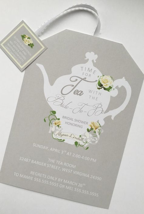 Tea Party Shower Invitations Tea Pot Style by BeforeTheRings