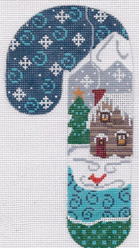 Darling Snowman on Peppermint Candy Finished Completed Cross Stitch