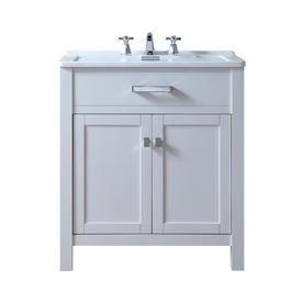 Stufurhome 30 In White Single Sink Bathroom Vanity With White