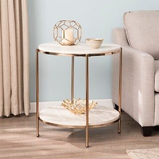 Silver Orchid Henderson Round Faux Stone End Table Marble Side Tables Living Room Side Table Marble End Tables