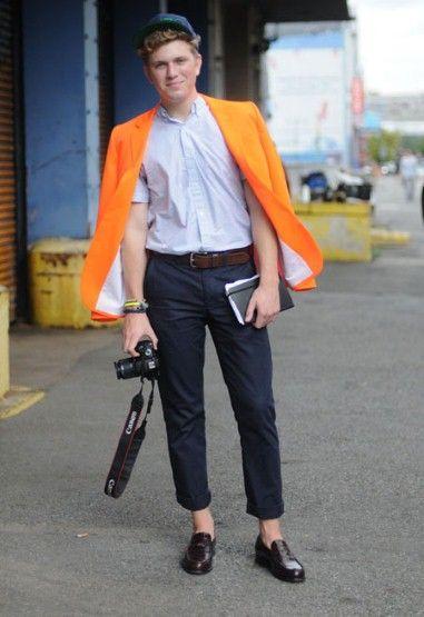 NY Street Fashion - Orange Blazer, Baseball Cap & No Socks.