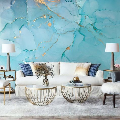 Art Wallpaper Peel and Stick Self Adhesive Marble Wall Mural Removable Abstract Wallpaper Light Blue Wall Mural Gold Wallpaper Living Room