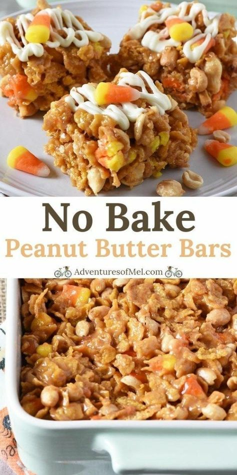 Photo of No Bake Peanut Butter Bars with Candy Corn and Peanuts – Adventures of Mel