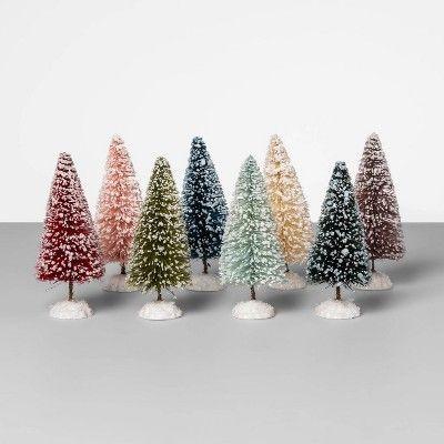 5 X 2 7 8pk Bottle Brush Christmas Tree Set Bottle Brush Christmas Trees Christmas Tree Set Whimsical Christmas