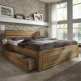 Massivholz Schubladenbett 180x200 Holzbett Bett Eiche Massiv