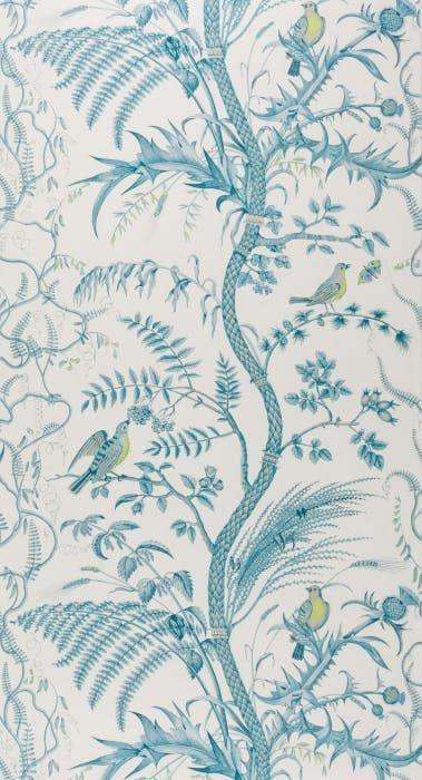 Vogel Und Distel Aqua Aqua Wallpaper Papierwande Aqua Bird and thistle wallpaper green