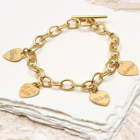 Personalised 18ct Gold Heart Charm Bracelet