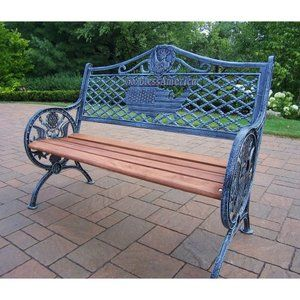 Love this Antique Verdi & Wood 'God Bless America' Bench by Oakland Living on