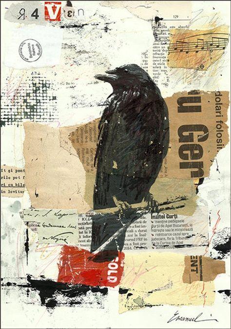 Articles similaires à Impression d'Art toile cadeau Collage Mixed Media Art peinture Illustration oiseau nature cadeau Corbeau Corneille dédicacé Emanuel M. Ologeanu sur Etsy