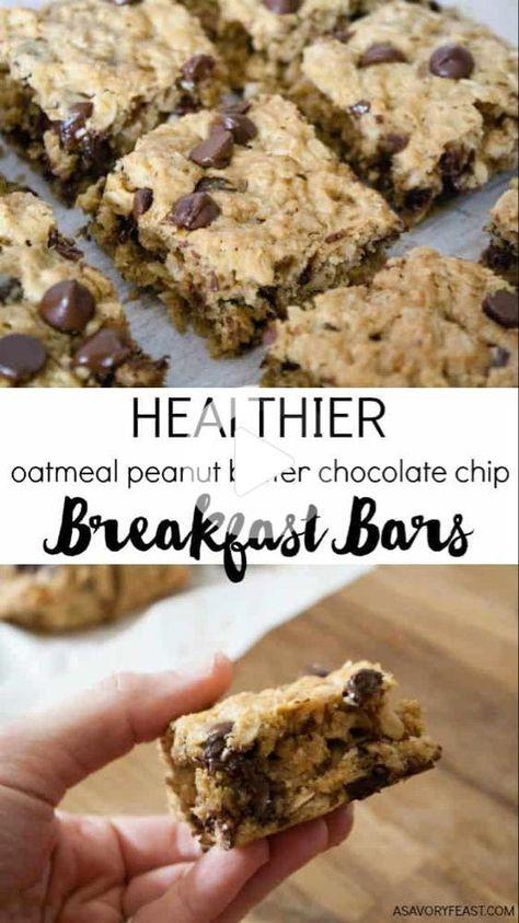 Alles, was Sie brauchen für Frühstück: Hafer, Erdnussbutter und ein bisschen Schokolade! Diese Gesünder Haferflocken Erdnussbutter Chocolate Chip Frühstück Bars sind wenig Zucker und so Füllung! #gesunderezepte