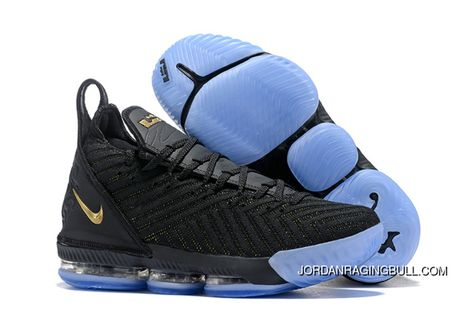 923c9316821 2018 New Nike Lebron 16 Black Gold Blue Mens Basketball Shoes For Sale