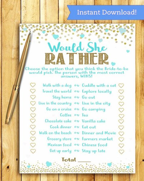 Bridal Shower Game - Would She Rather - Teal Blue and Gold - Instant Printable Digital Download - di