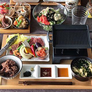 2017 4 12 Wed 焼肉定食 焼肉と焼き野菜 キムチ 大根と