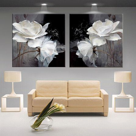 Modern 3d White Lotus Definition Pictures Canvas Home Decoration Living Room Wall Modular Paintin Canvas Wall Decor Living Room Canvas Painting Poster Wall Art