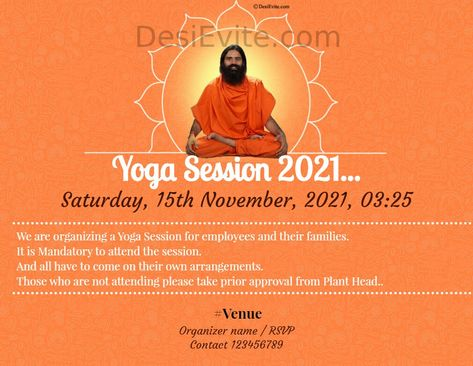 Yoga Session Invitation Card