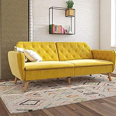 Amazon Com Novogratz Tallulah Memory Foam Couch Mustard Yellow Velvet Futon Kitchen Dining Yellow Couch Sofa Bed Yellow Sofa