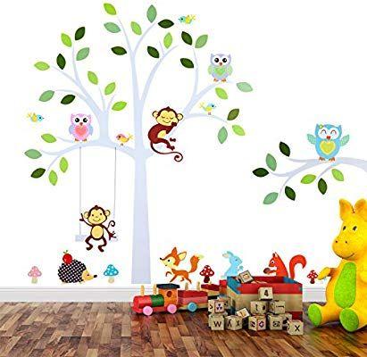 Wand-Tattoo Wanddekoration TALINU Wandsticker f/ür Baby- oder Kinder-Zimmer; Motiv: Baum mit Bl/ättern und Tieren haftet an allen glatten und sauberen Oberfl/ächen Wand-Aufkleber