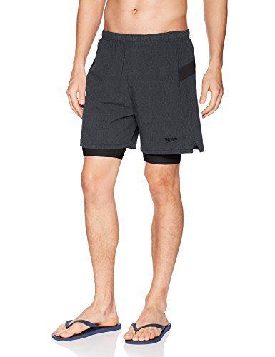 Speedo Mens Hydrosprinter with Compression Swimsuit Shorts Workout /& Swim Trunks Black Medium