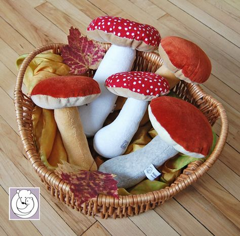 Waldorf Nature Table Mushroom Red Soft Toy 7 inch made from Natural Materials. Felt Crafts, Fabric Crafts, Sewing Crafts, Diy And Crafts, Mushroom Crafts, Craft Projects, Sewing Projects, Nature Table, Waldorf Toys