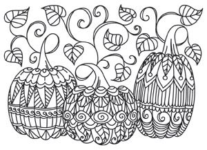 Coloring Page World Patterned Pumpkins