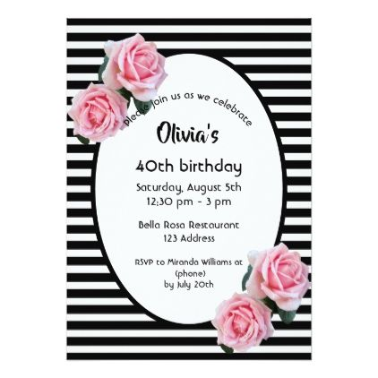 Pink /& White Striped Floral 50th Personalised Birthday Party Invitations