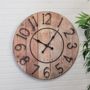 32 In Round Wall Clock Mt2025 The Home Depot Wood Wall Clock Wood Plank Walls Oversized Wall Clock