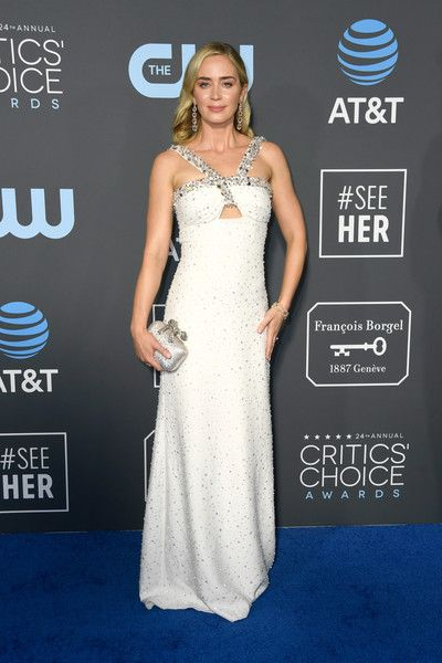 Emily Blunt attends the 24th annual Critics' Choice Awards at Barker Hangar.
