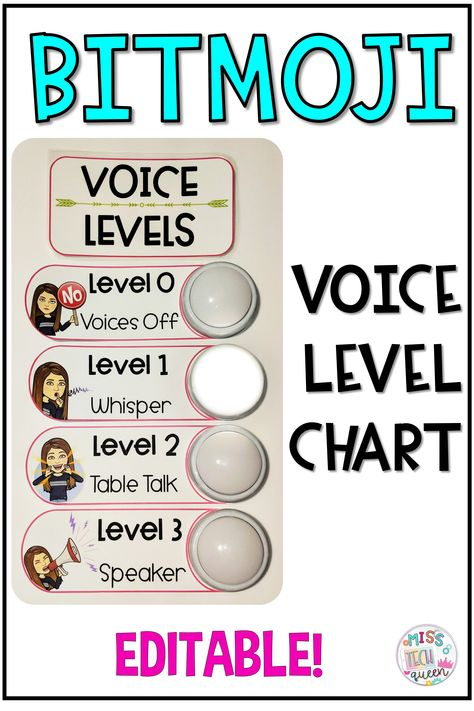 Voice Level Chart Looking for new classroom management strategies? This voice level chart can be customized to include your BITMOJI! This fun chart is a great way to monitor classroom volume. Add lights too! Voice level description text is also editable Classroom Jobs, Classroom Behavior, Classroom Environment, Future Classroom, Classroom Organization, Classroom Noise Level, Classroom Decor, Classroom Procedures, Classroom Layout